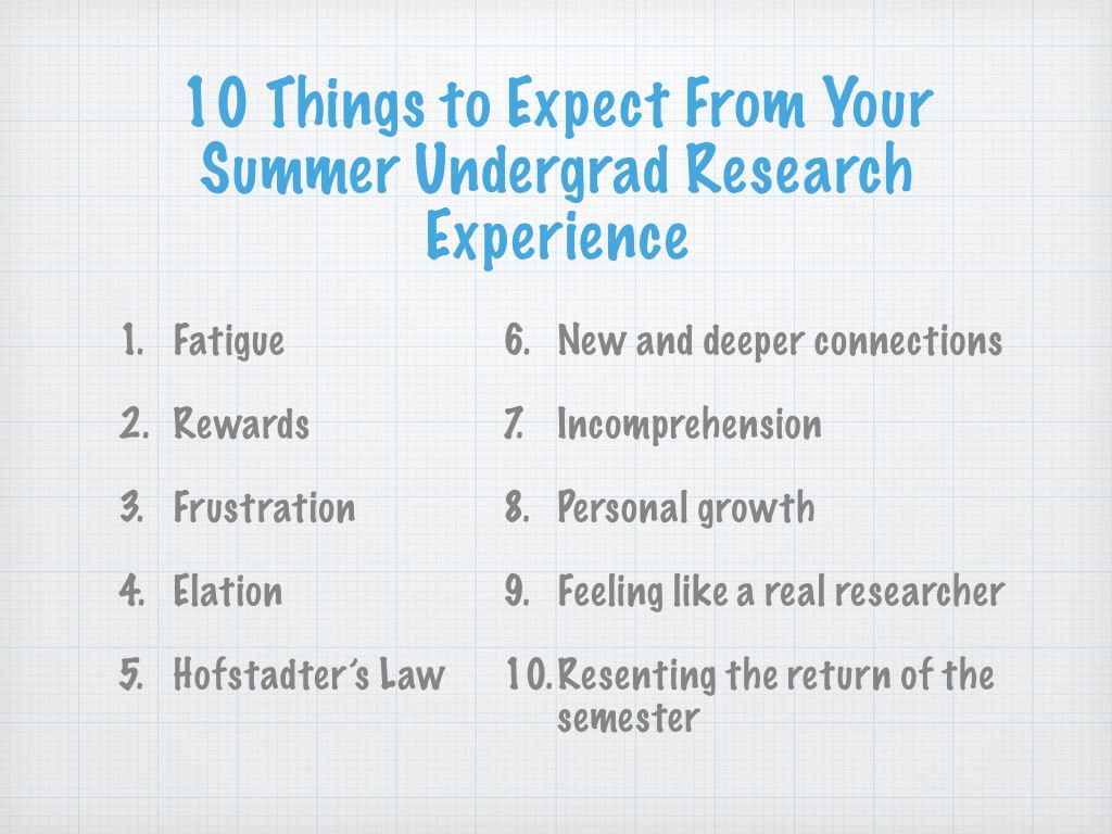 10 Things to Expect From Your Summer Undergrad Research